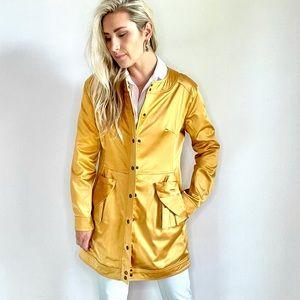 Luii Golden Yellow Satin Jacket Coat Medium